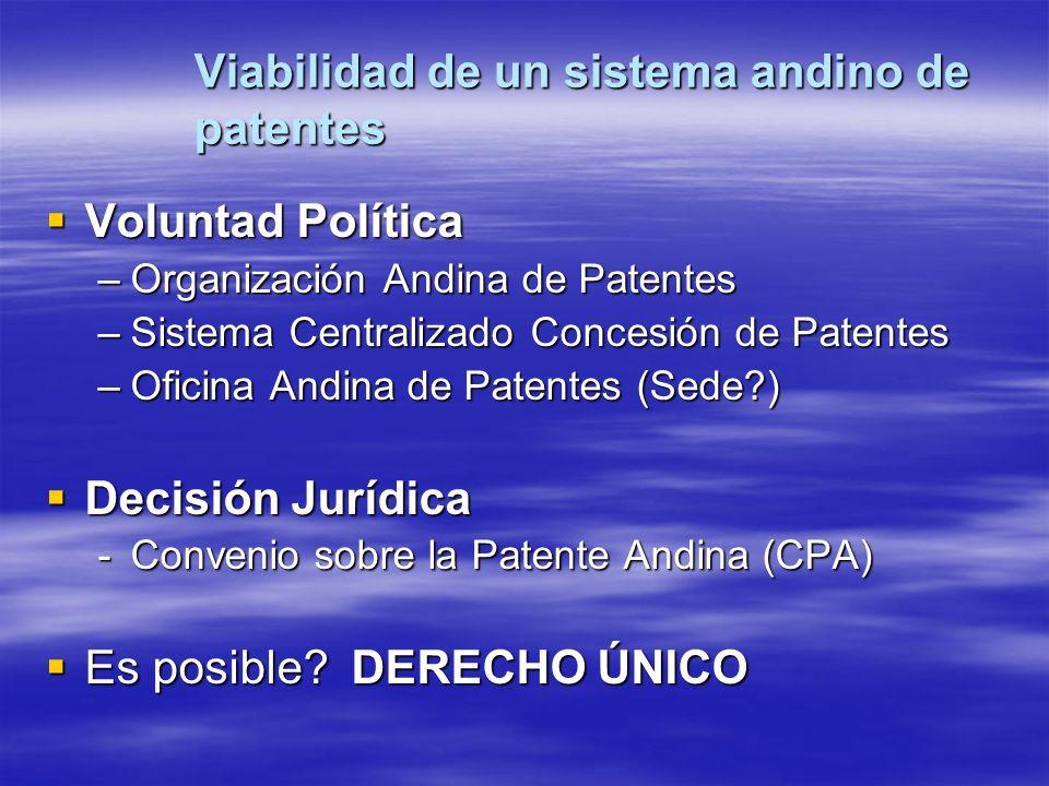 Viabilidad de un sistema andino de patentes