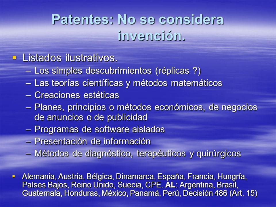 Patentes: No se considera invención.