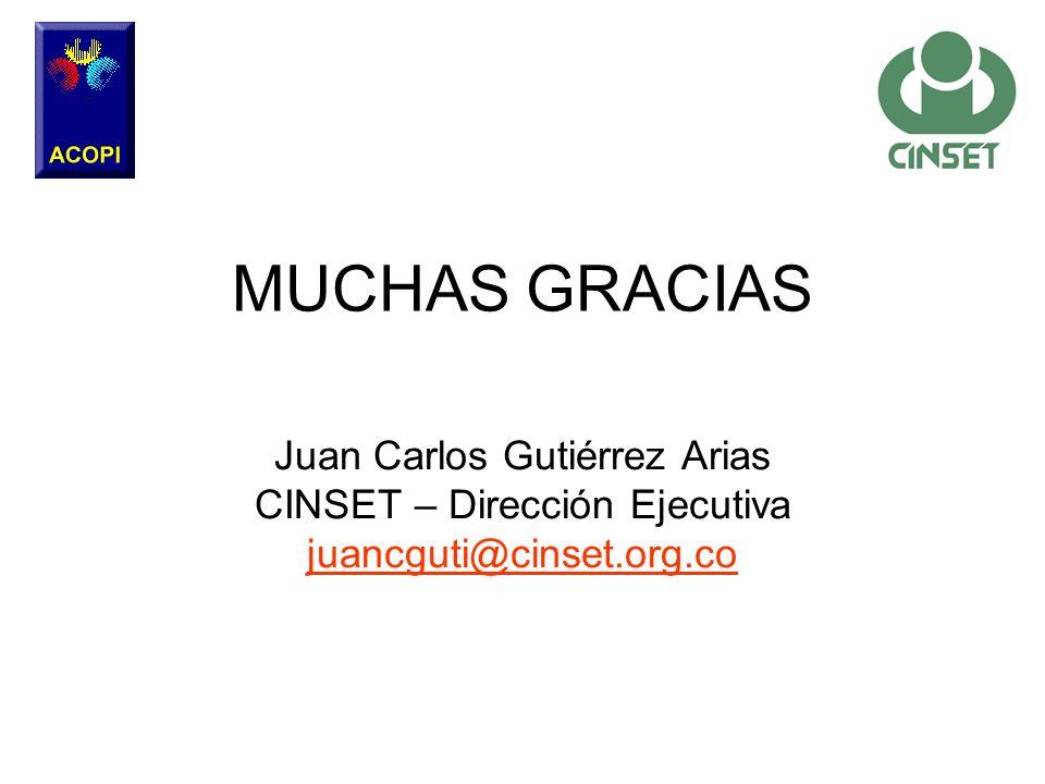 MUCHAS GRACIAS Juan Carlos Gutiérrez Arias