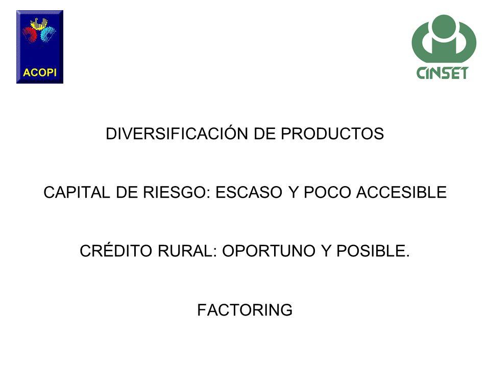 DIVERSIFICACIÓN DE PRODUCTOS CAPITAL DE RIESGO: ESCASO Y POCO ACCESIBLE CRÉDITO RURAL: OPORTUNO Y POSIBLE.