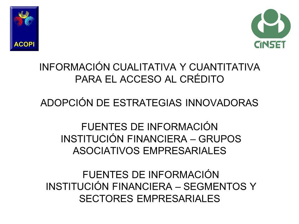 INFORMACIÓN CUALITATIVA Y CUANTITATIVA PARA EL ACCESO AL CRÉDITO ADOPCIÓN DE ESTRATEGIAS INNOVADORAS FUENTES DE INFORMACIÓN INSTITUCIÓN FINANCIERA – GRUPOS ASOCIATIVOS EMPRESARIALES FUENTES DE INFORMACIÓN INSTITUCIÓN FINANCIERA – SEGMENTOS Y SECTORES EMPRESARIALES