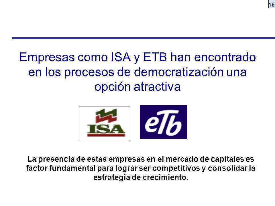 Empresas como ISA y ETB han encontrado en los procesos de democratización una opción atractiva