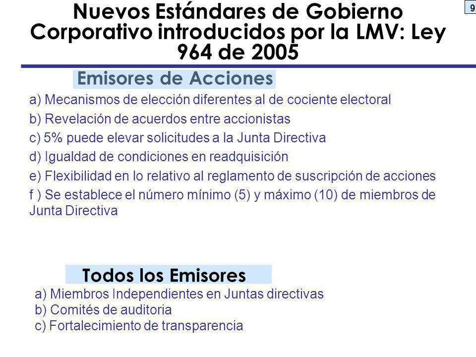 Nuevos Estándares de Gobierno Corporativo introducidos por la LMV: Ley 964 de 2005