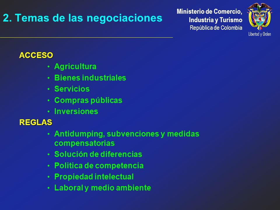 2. Temas de las negociaciones