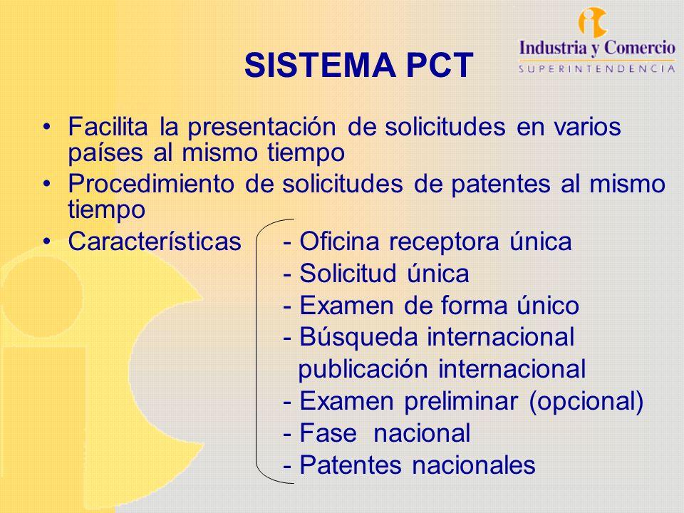 SISTEMA PCT Facilita la presentación de solicitudes en varios países al mismo tiempo. Procedimiento de solicitudes de patentes al mismo tiempo.