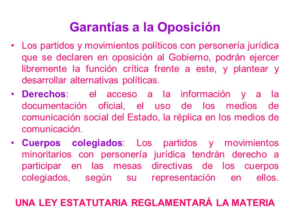Garantías a la Oposición