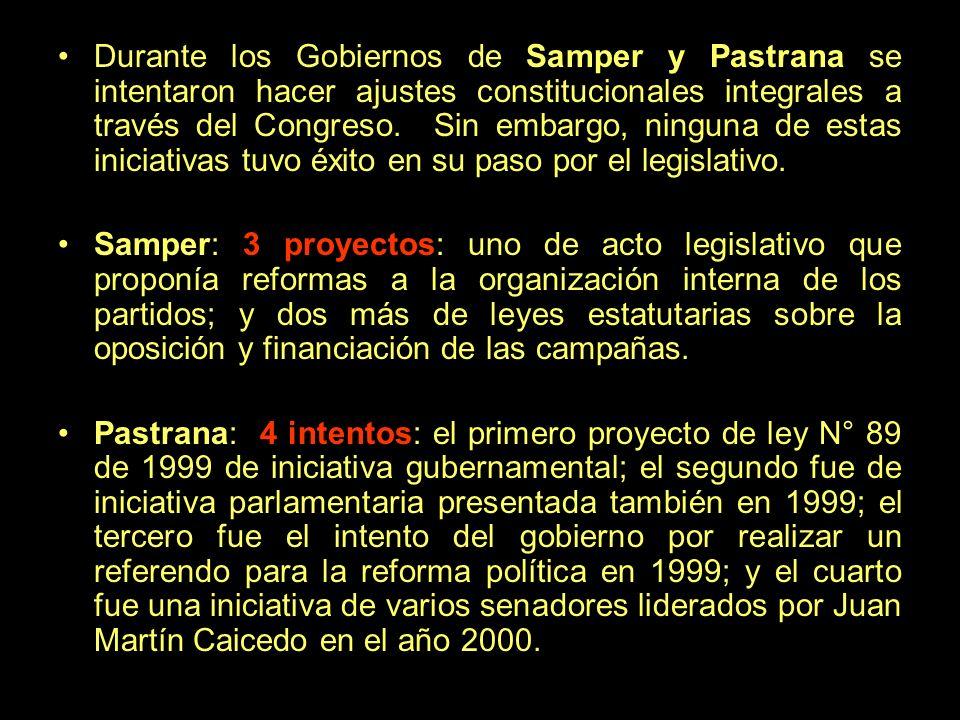 Durante los Gobiernos de Samper y Pastrana se intentaron hacer ajustes constitucionales integrales a través del Congreso. Sin embargo, ninguna de estas iniciativas tuvo éxito en su paso por el legislativo.