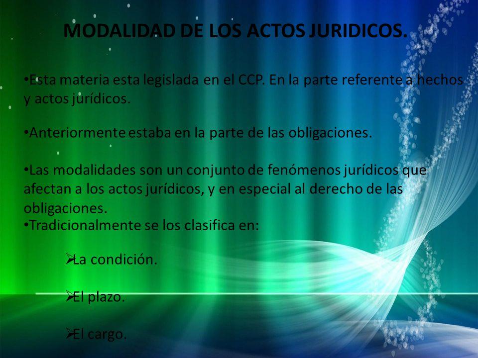 MODALIDAD DE LOS ACTOS JURIDICOS.