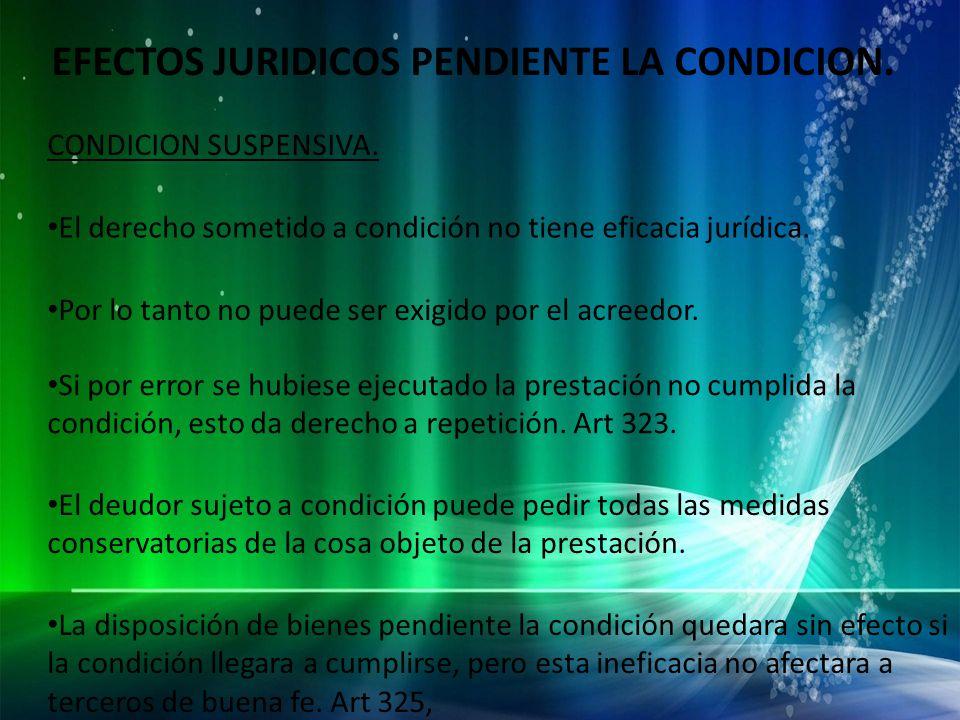 EFECTOS JURIDICOS PENDIENTE LA CONDICION.