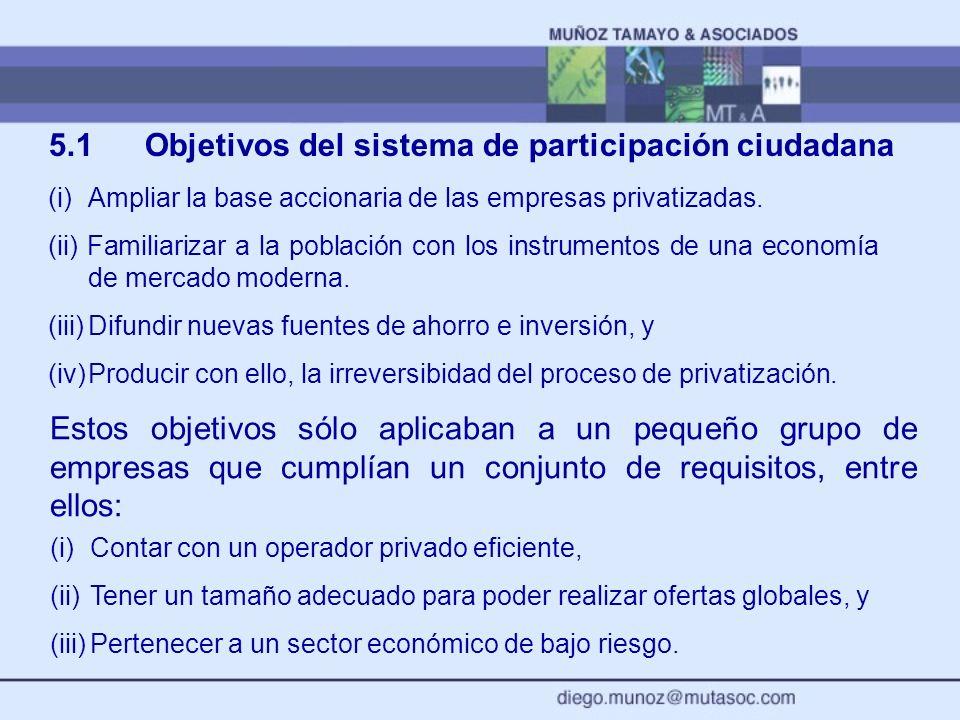 5.1 Objetivos del sistema de participación ciudadana