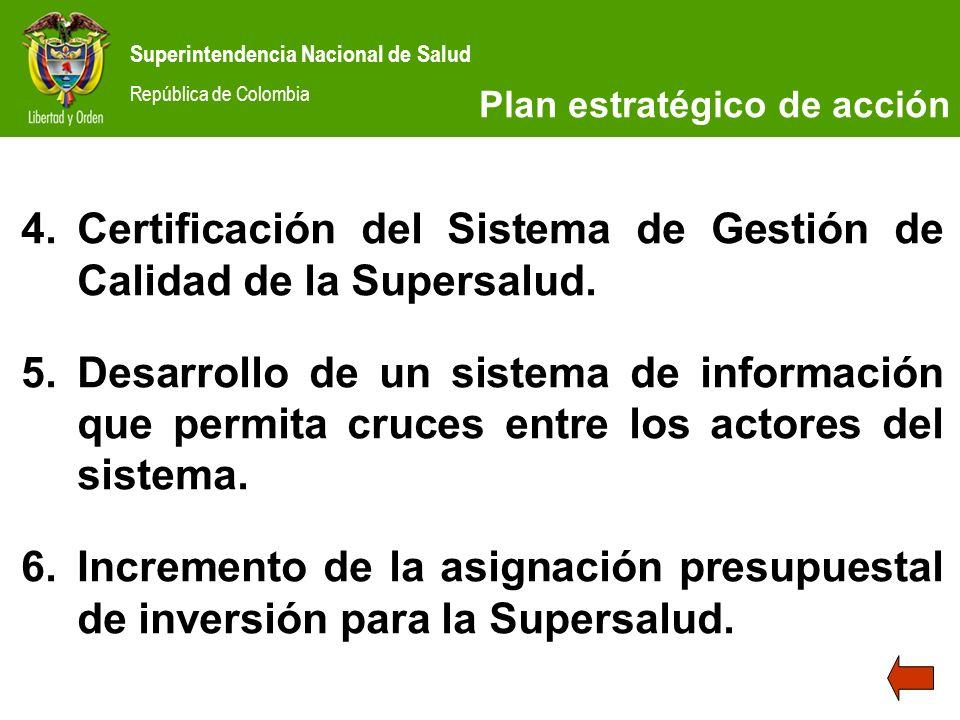 Certificación del Sistema de Gestión de Calidad de la Supersalud.
