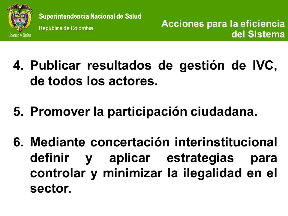 Publicar resultados de gestión de IVC, de todos los actores.