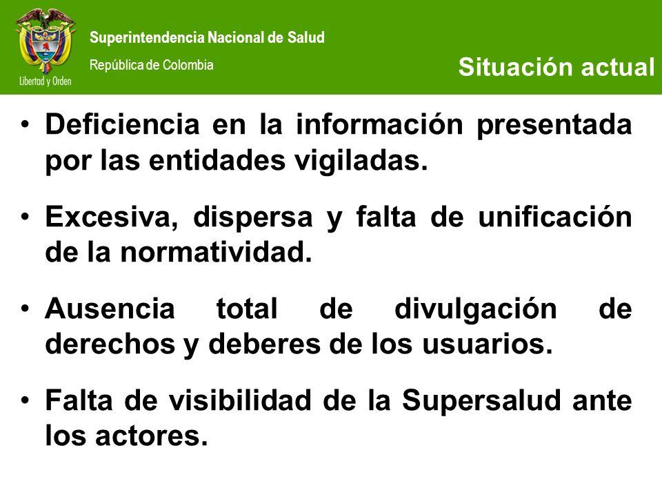 Deficiencia en la información presentada por las entidades vigiladas.