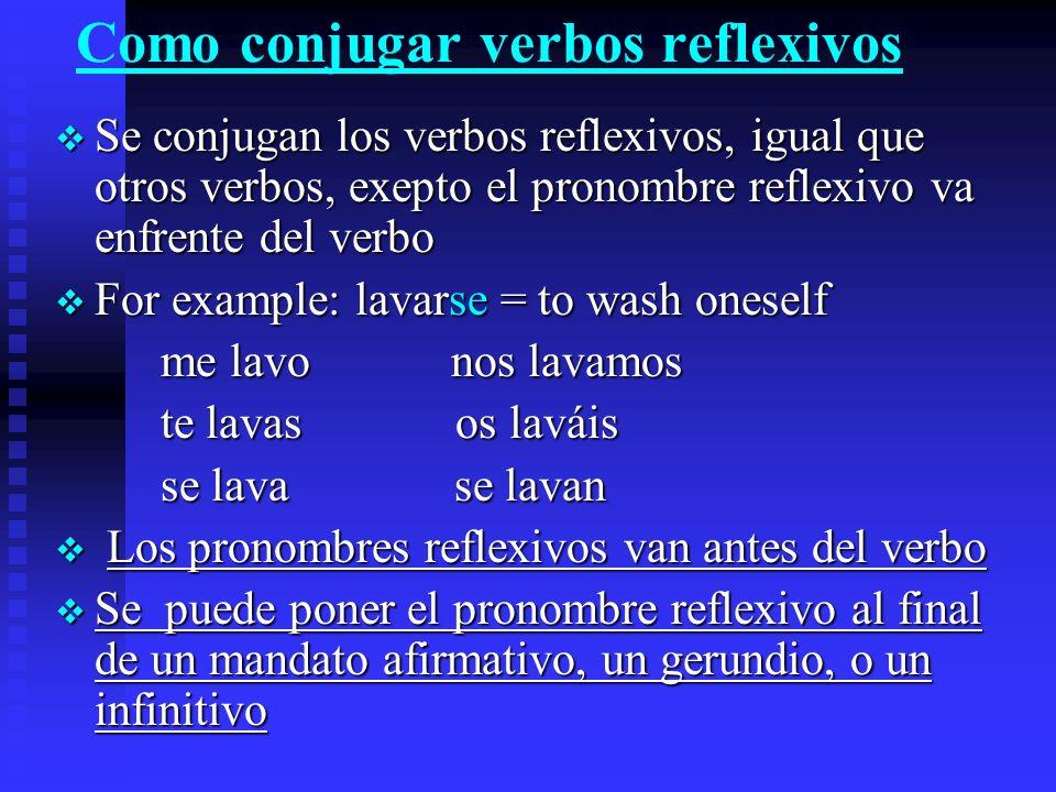 Como conjugar verbos reflexivos