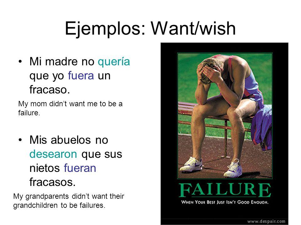 Ejemplos: Want/wish Mi madre no quería que yo fuera un fracaso.
