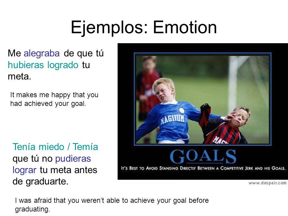 Ejemplos: Emotion Me alegraba de que tú hubieras logrado tu meta.