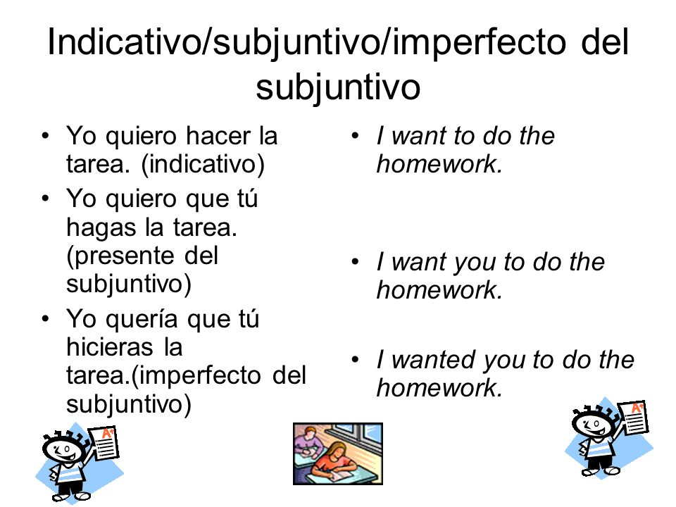 Indicativo/subjuntivo/imperfecto del subjuntivo