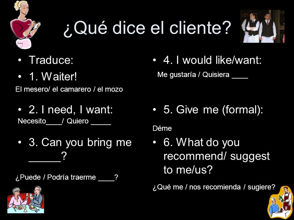 ¿Qué dice el cliente Traduce: 1. Waiter! 2. I need, I want: