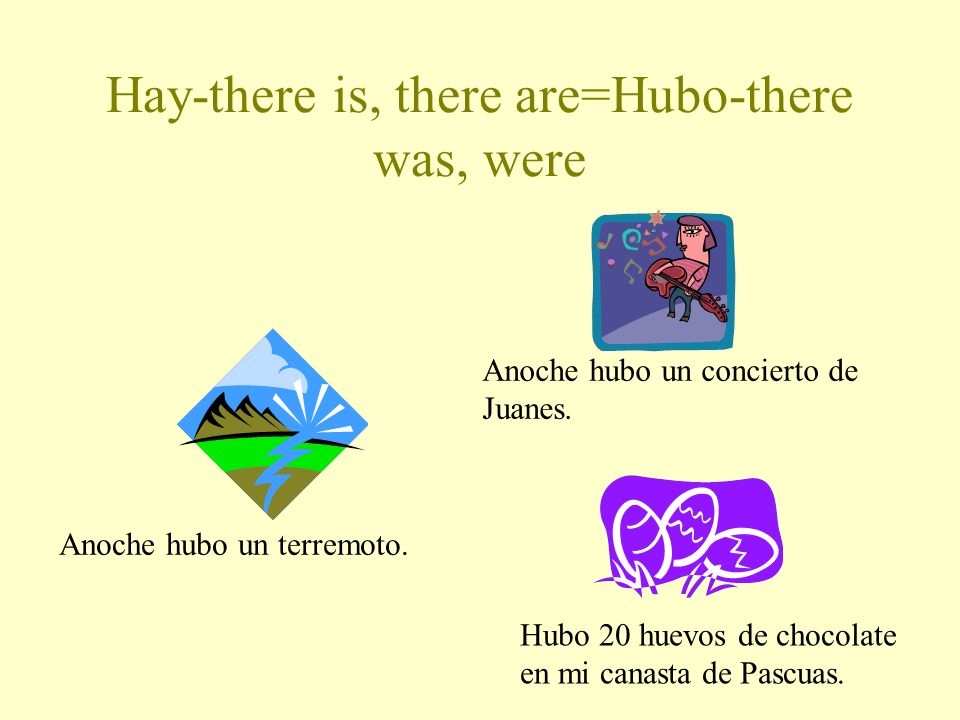 Hay-there is, there are=Hubo-there was, were