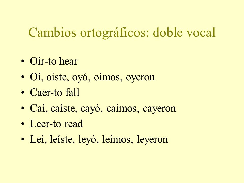Cambios ortográficos: doble vocal