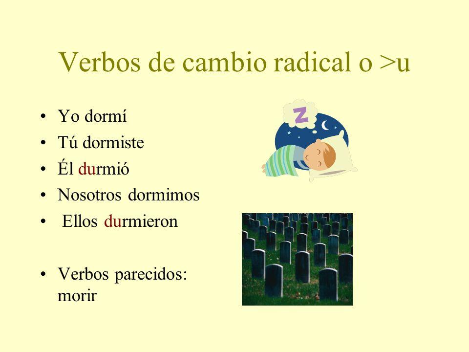 Verbos de cambio radical o >u