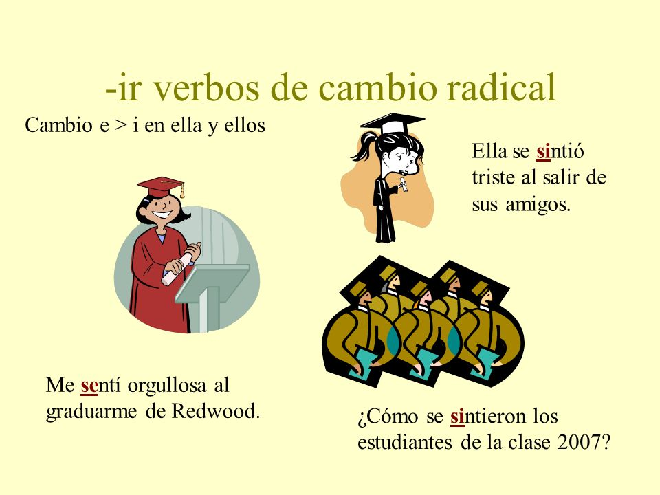 -ir verbos de cambio radical