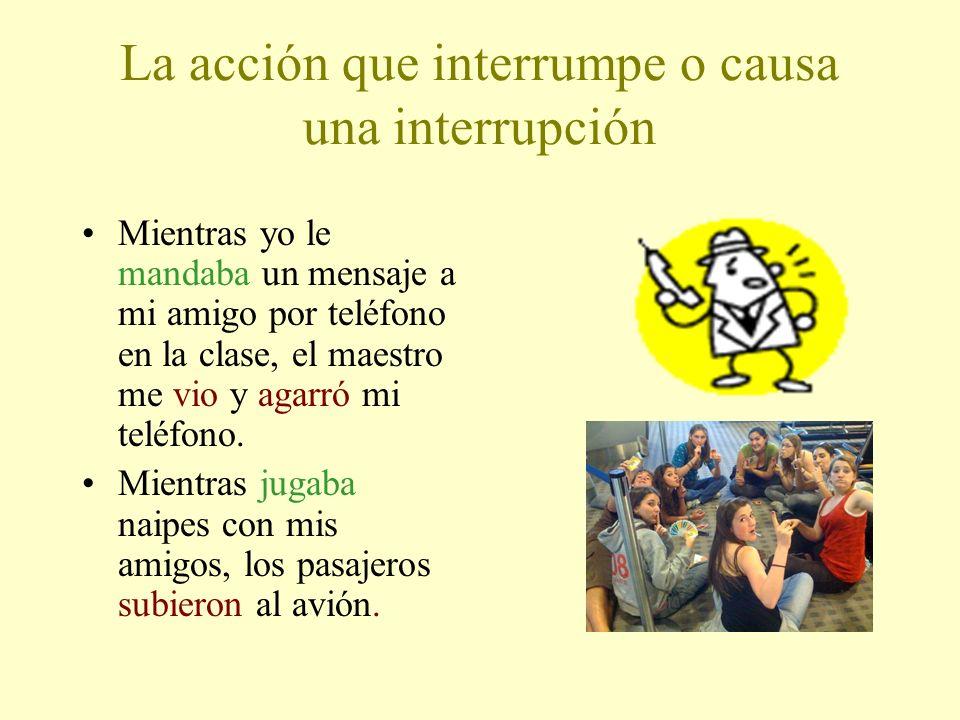 La acción que interrumpe o causa una interrupción