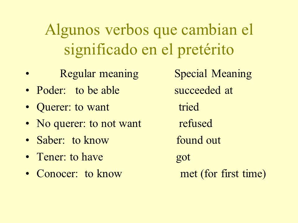 Algunos verbos que cambian el significado en el pretérito
