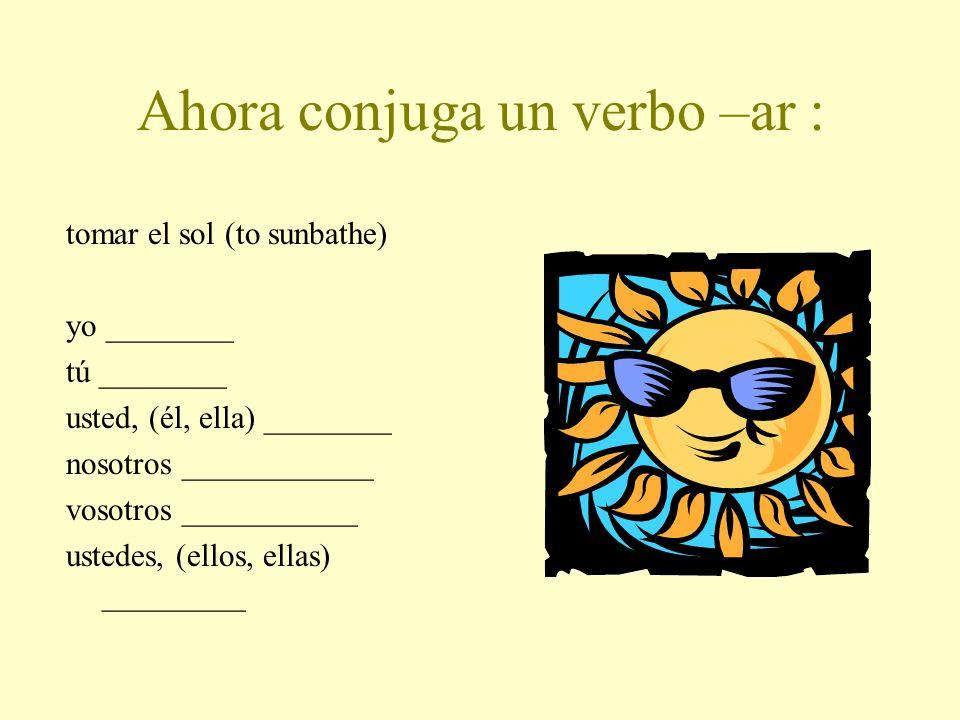 Ahora conjuga un verbo –ar :