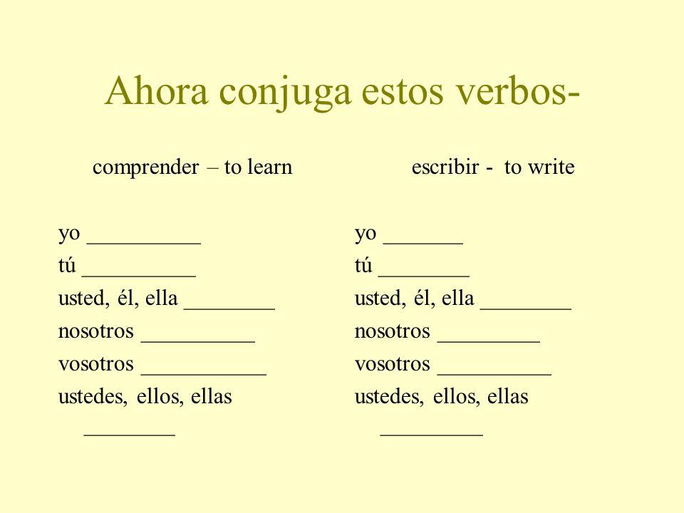 Ahora conjuga estos verbos-