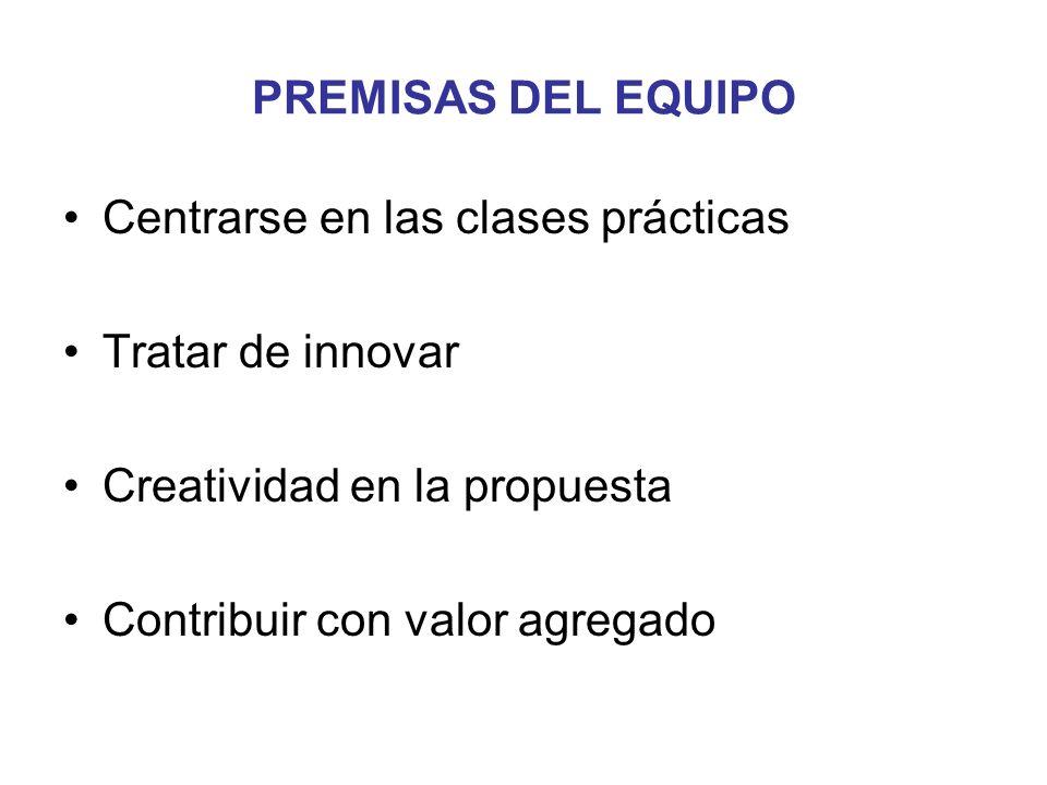 PREMISAS DEL EQUIPO Centrarse en las clases prácticas. Tratar de innovar. Creatividad en la propuesta.