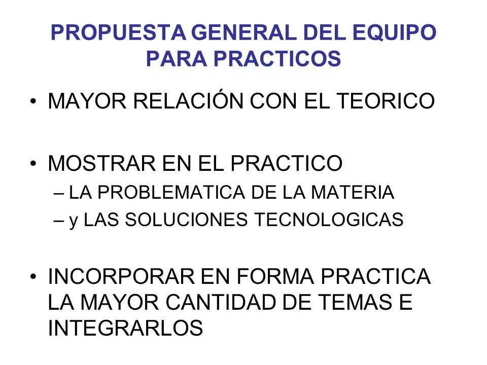 PROPUESTA GENERAL DEL EQUIPO PARA PRACTICOS
