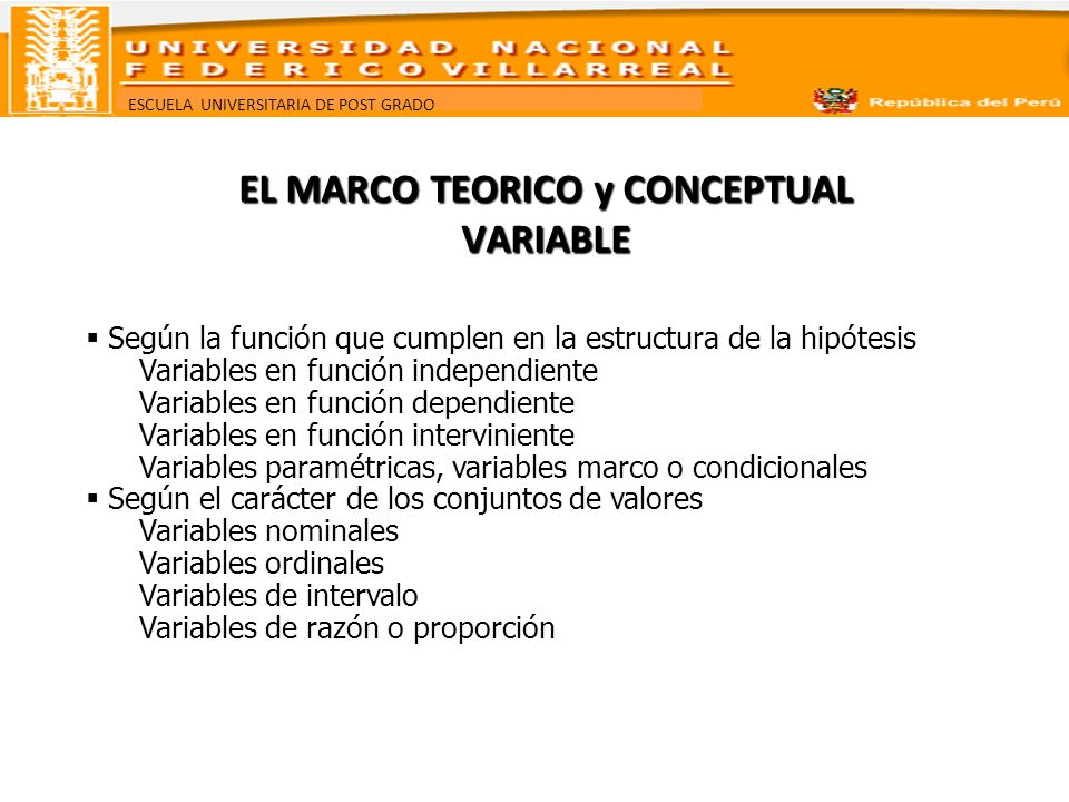 EL MARCO TEORICO y CONCEPTUAL VARIABLE