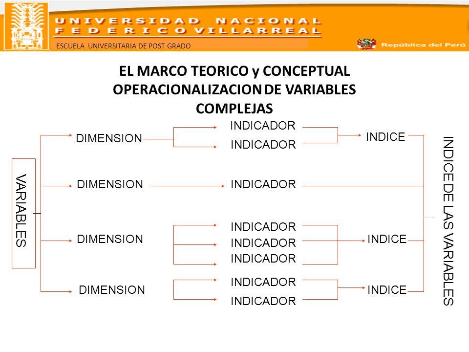 EL MARCO TEORICO y CONCEPTUAL OPERACIONALIZACION DE VARIABLES COMPLEJAS