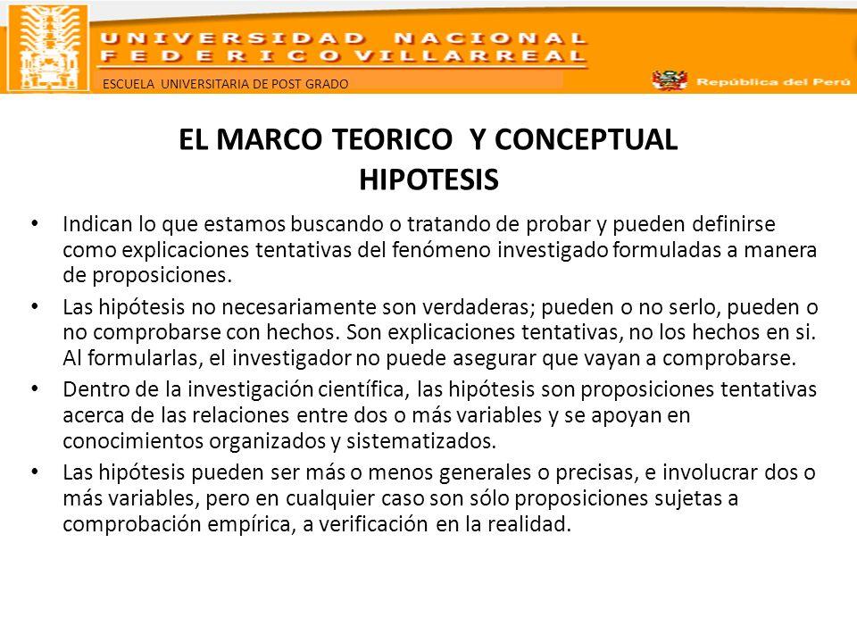EL MARCO TEORICO Y CONCEPTUAL HIPOTESIS