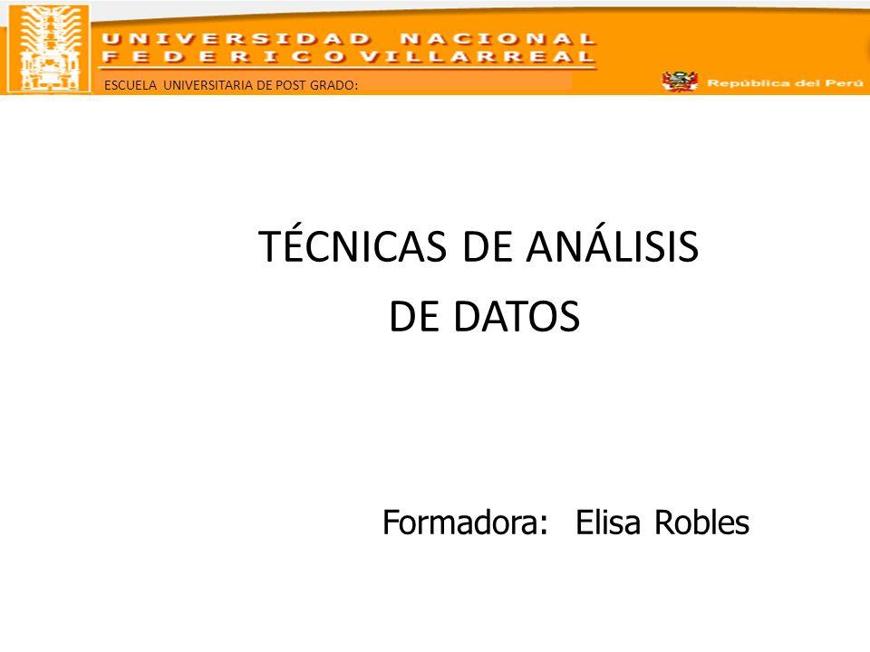 TÉCNICAS DE ANÁLISIS DE DATOS Formadora: Elisa Robles