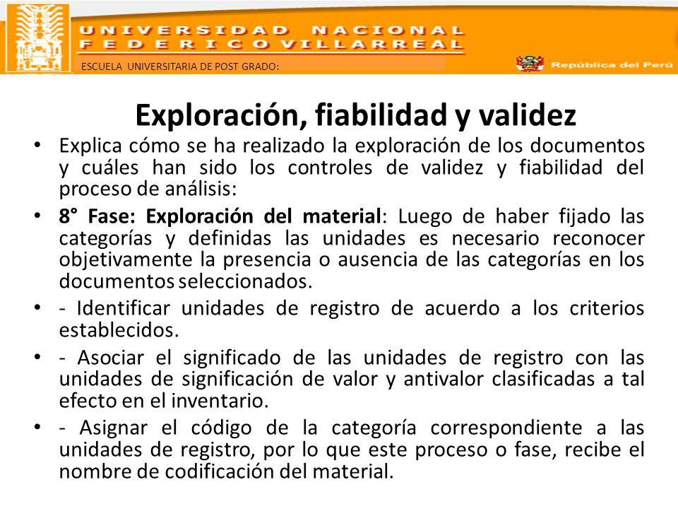 Exploración, fiabilidad y validez