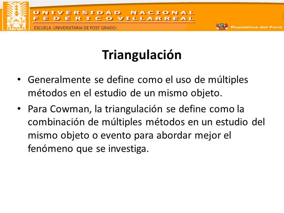 Triangulación Generalmente se define como el uso de múltiples métodos en el estudio de un mismo objeto.