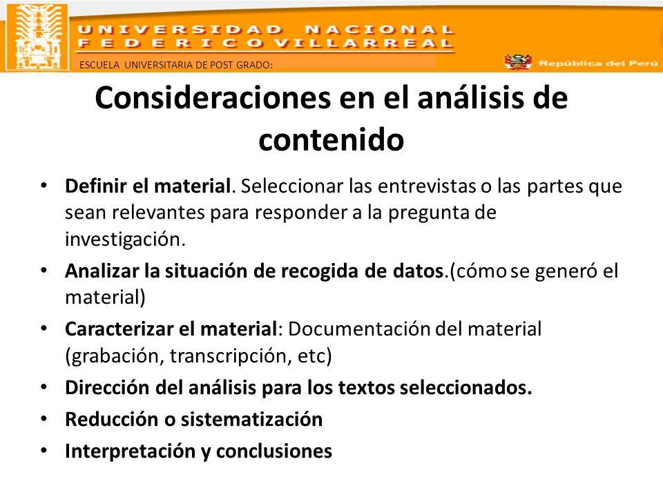 Consideraciones en el análisis de contenido