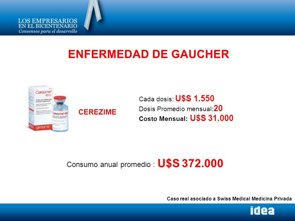 ENFERMEDAD DE GAUCHER CEREZIME Consumo anual promedio : U$S 372.000