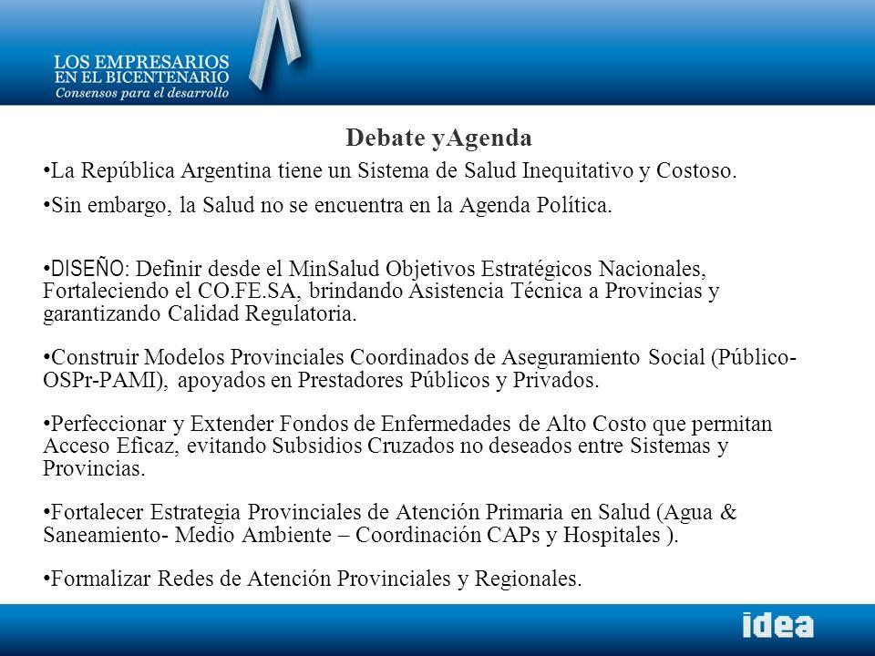 Debate yAgenda La República Argentina tiene un Sistema de Salud Inequitativo y Costoso. Sin embargo, la Salud no se encuentra en la Agenda Política.