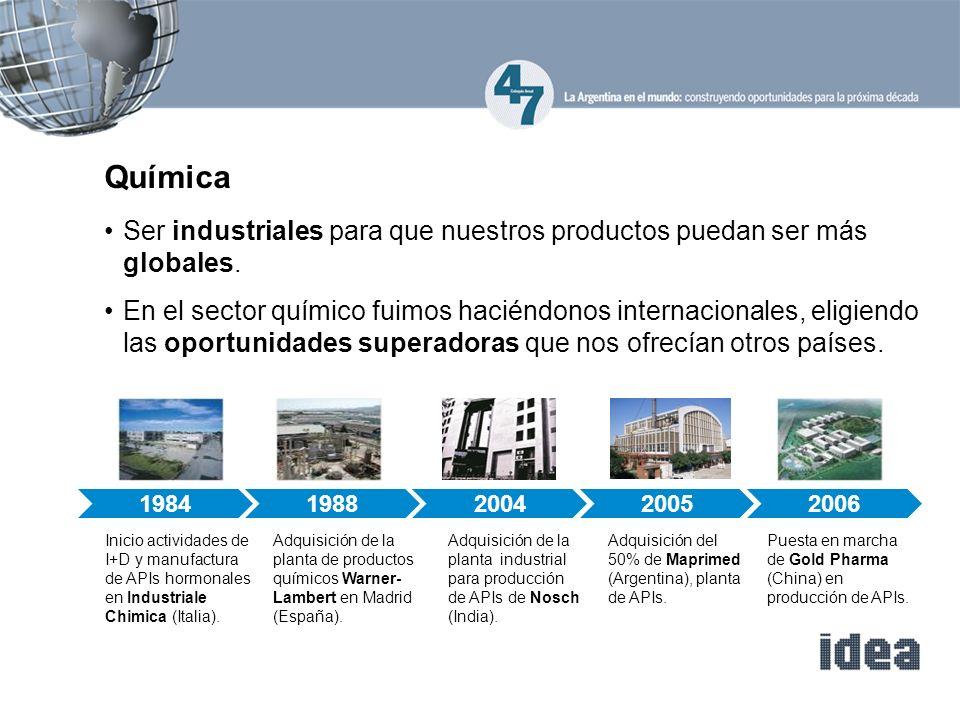 Química Ser industriales para que nuestros productos puedan ser más globales.