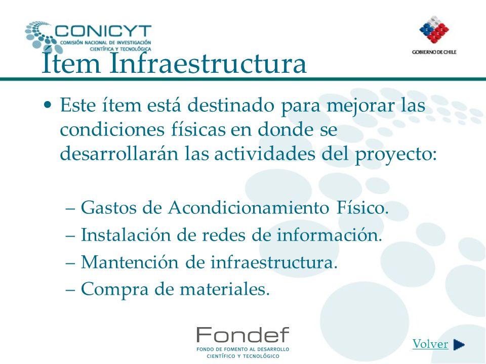 Ítem Infraestructura Este ítem está destinado para mejorar las condiciones físicas en donde se desarrollarán las actividades del proyecto: