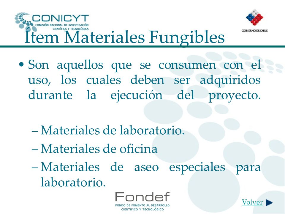 Ítem Materiales Fungibles