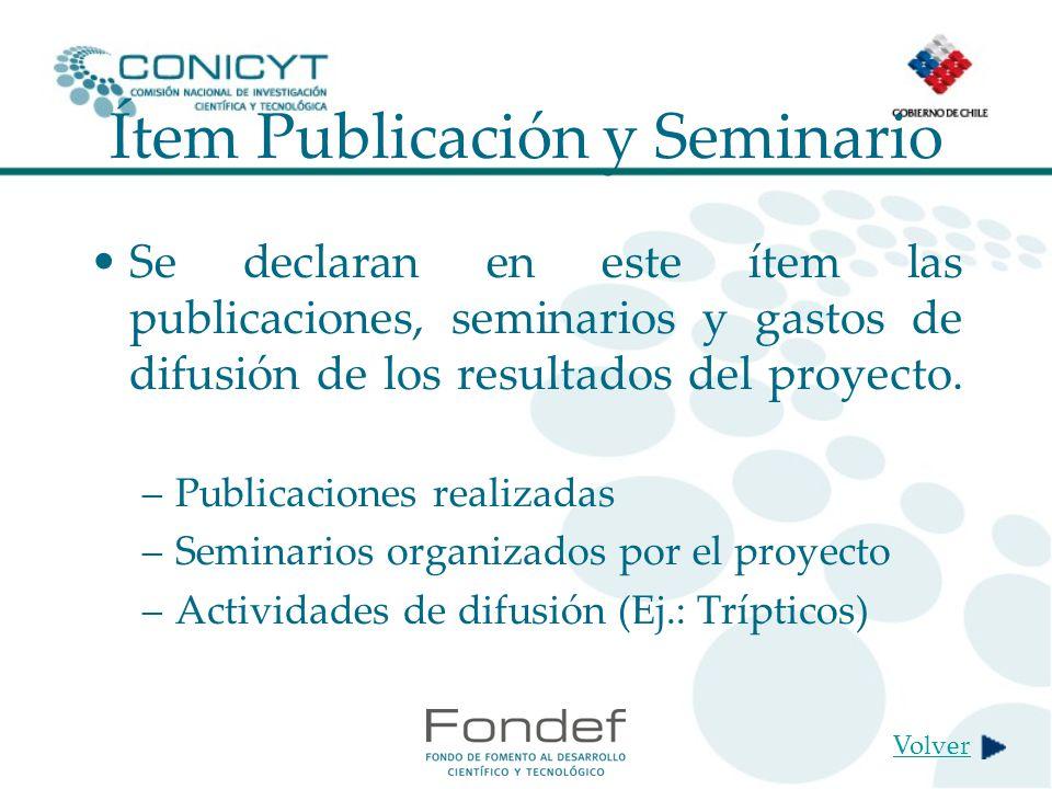 Ítem Publicación y Seminario