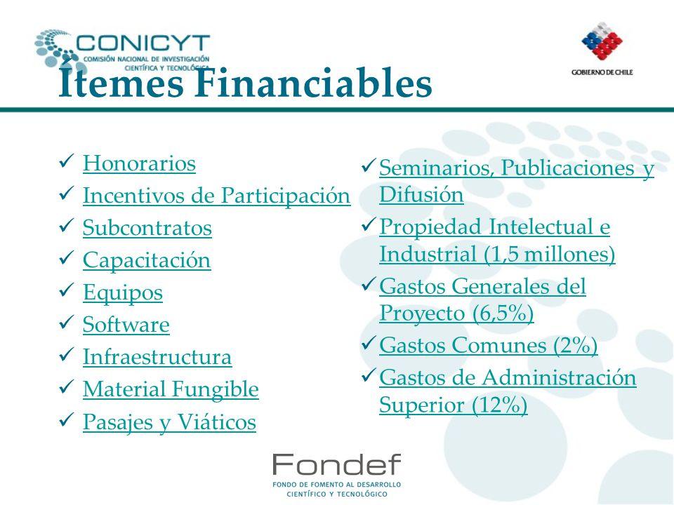 Ítemes Financiables Honorarios Seminarios, Publicaciones y Difusión