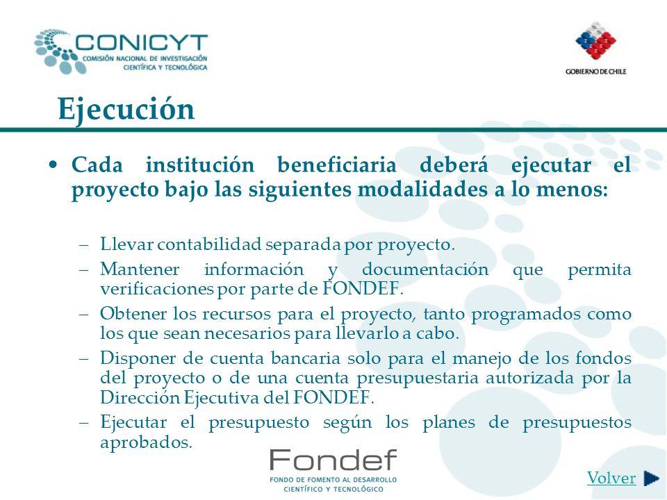Ejecución Cada institución beneficiaria deberá ejecutar el proyecto bajo las siguientes modalidades a lo menos: