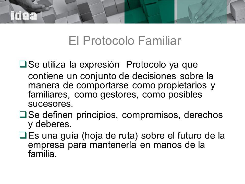 El Protocolo Familiar Se utiliza la expresión Protocolo ya que
