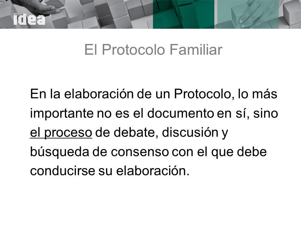 El Protocolo Familiar En la elaboración de un Protocolo, lo más