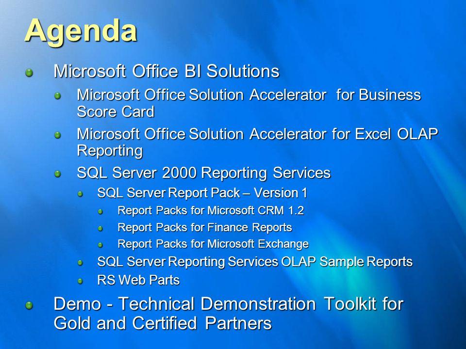 Agenda Microsoft Office BI Solutions